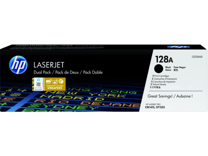 HP 128A 2-pack Black Original LaserJet Toner Cartridges