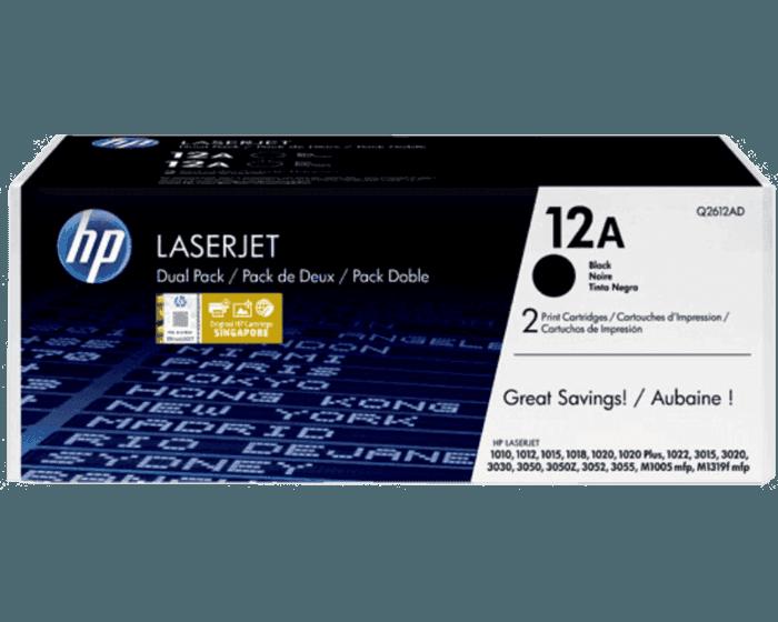 HP 12A 2-pack Black Original LaserJet Toner Cartridges