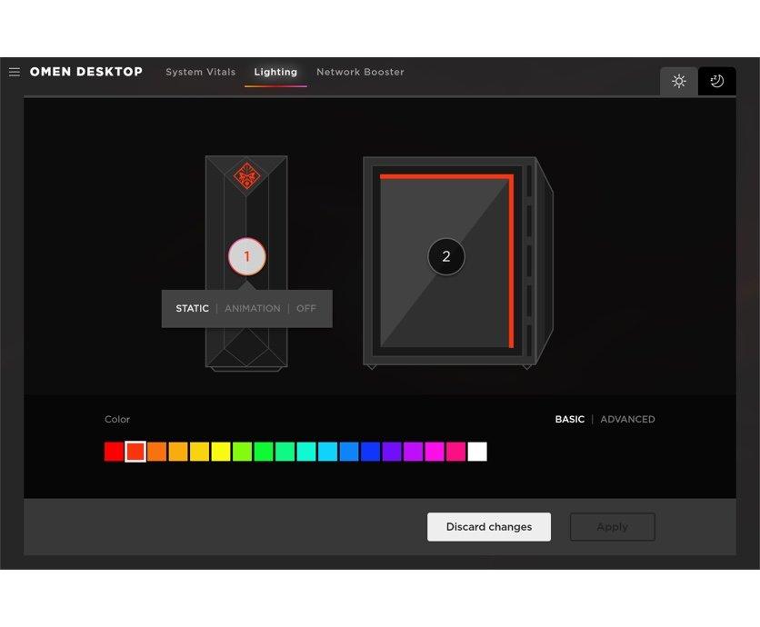 OMEN Gaming Hub software to manage RGB lighting of OMEN laptops, desktop, accessories