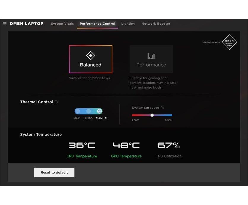 OMEN Gaming Hub software performance control between balanced or performance mode