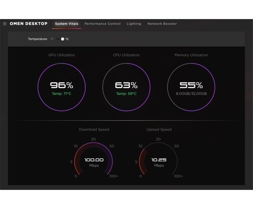 OMEN Gaming Hub system vitals displays PC key metrics like GPU, CPU utilisation, PC temperature and memory usage